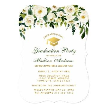 Watercolor Green Floral Graduation Party Invite B