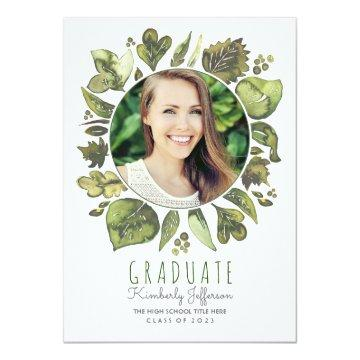 Watercolor Leaves Wreath Photo Graduation Card