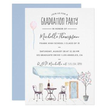 Watercolor Paris Graduation invitation