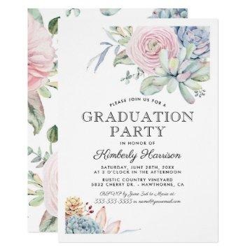 Watercolor Succulent Floral Graduation Party