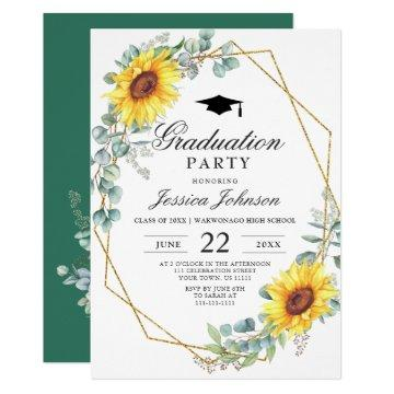 Watercolor Sunflower Eucalyptus  Graduation Party Invitation