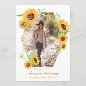 Watercolor Sunflower Photo Graduation Party Invite