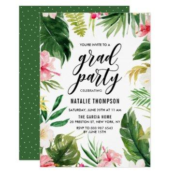 Watercolor Tropical Floral Frame Graduation Party