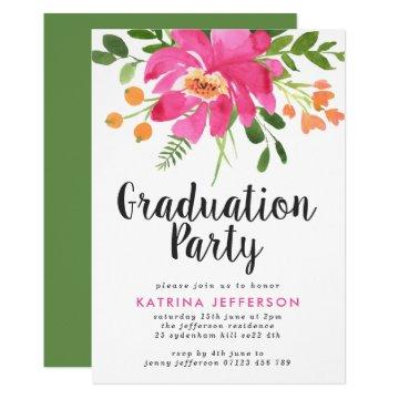 Watercolor Tropics Graduation Party Invitation
