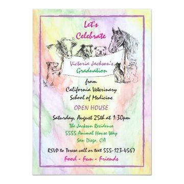 Watercolor Veterinarian School Graduation Card