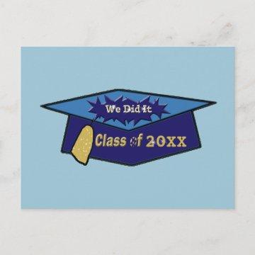 We Did It Class Graduation Two Blues Announcement Postcard