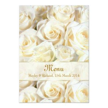 Wedding Menu  card with white-cream rose