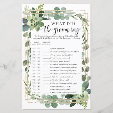 What did the groom say game succulent boho