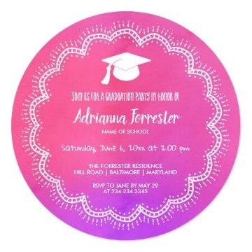 Whimsical Bohemian Pink Watercolor Graduate Hat Card