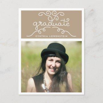 Whimsical Chic Graduate Typography Photo Beige  Postcard