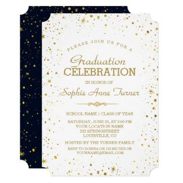 Whimsical Gold Sparkle Starry Sky Graduation Party Invitation