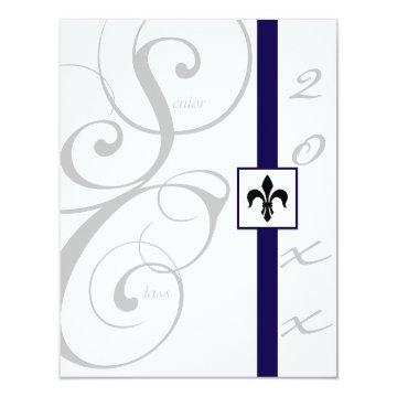 White and Blue Scroll Ribbon Graduation Card