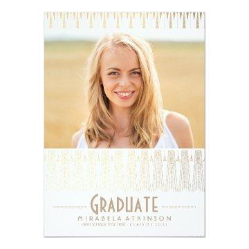 White and Gold Art Deco Vintage Graduation Party Card