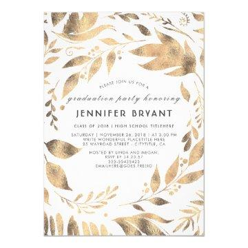 White and Gold Leaves Laurel Fall Graduation Party Card
