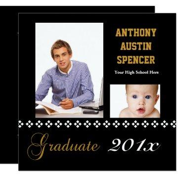 White Diamonds Square Graduation Photograph Invite