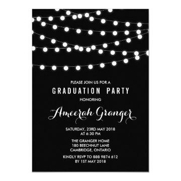 White Fairy Lights | Black Graduation