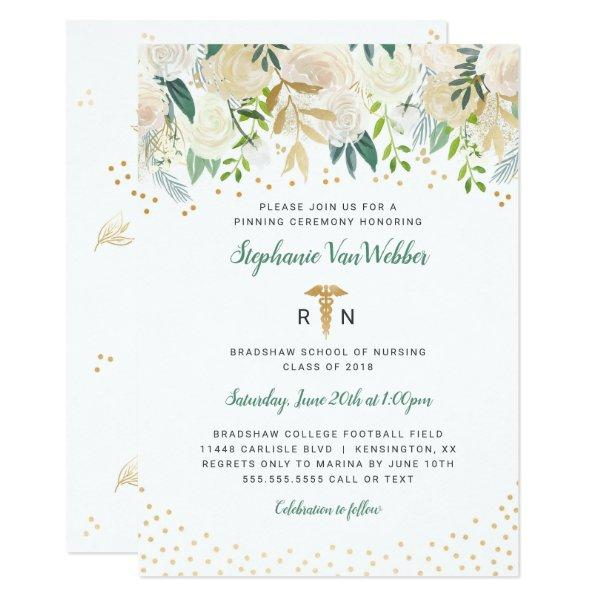 White Floral Gold Confetti RN graduation invites