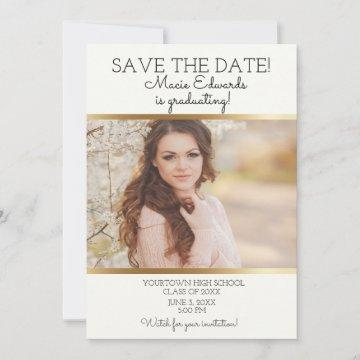 White Gold Graduation Save Date Photo Save The Date