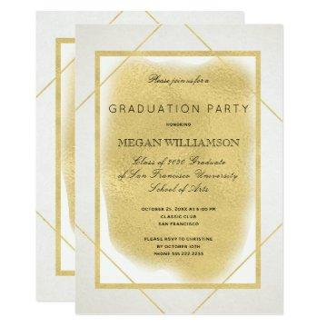 White ivory gold framed formal graduation party invitation