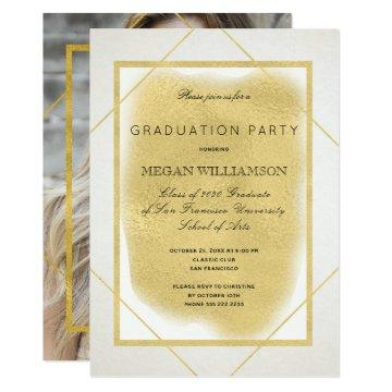 White ivory gold PHOTO formal graduation party Card