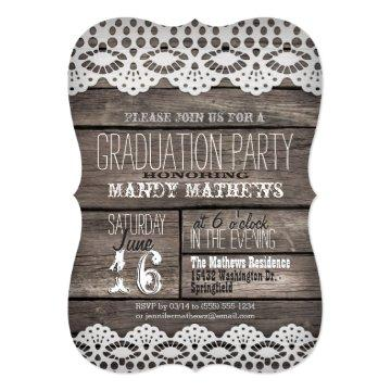 White Lace on Rustic Brown Wood Graduation Party Card