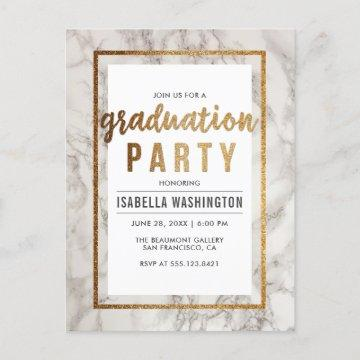 White Marble & Gold Typography Graduation Party Invitation Postcard