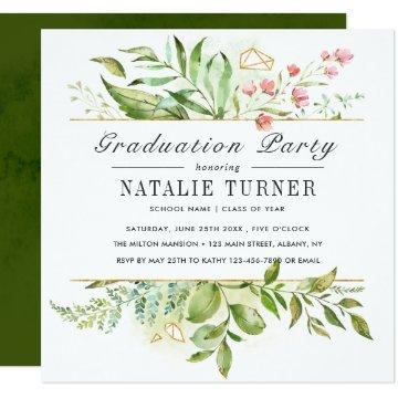 Wild Floral Green Foliage Graduation Party Card