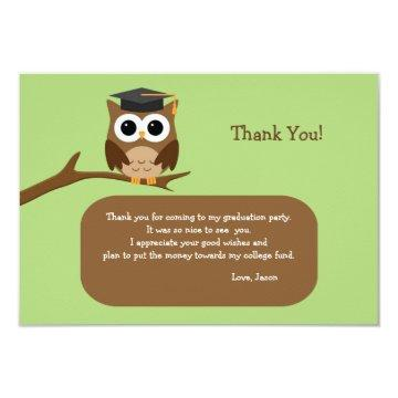 Wise Owl Graduation Thank You Note Card