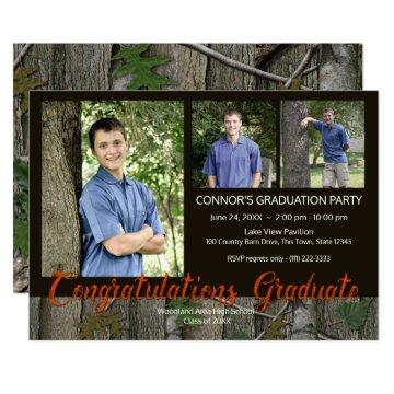 Woodland Camo Graduation Photo Invitation