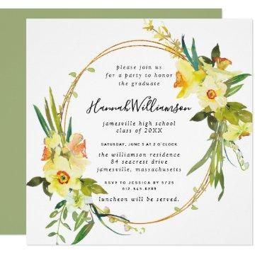 Yellow Daffodil Square Graduation Invitation
