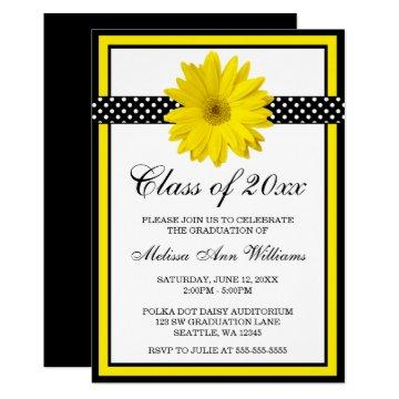 Yellow Daisy Polka Dots Graduation Announcement