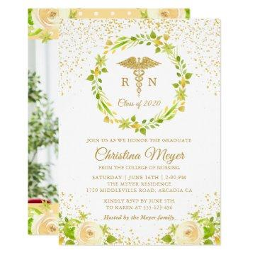 Yellow Floral Gold Nursing Graduation Party Photo Invitation