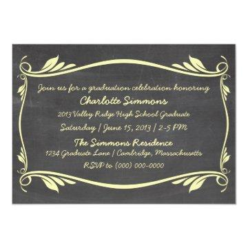 Yellow Flourish Chalkboard Graduation Invite