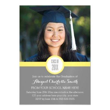 Yellow Grey Modern Graduation Party Magnetic Card