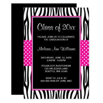 Zebra Hot Pink Polka Dot Graduation Announcement