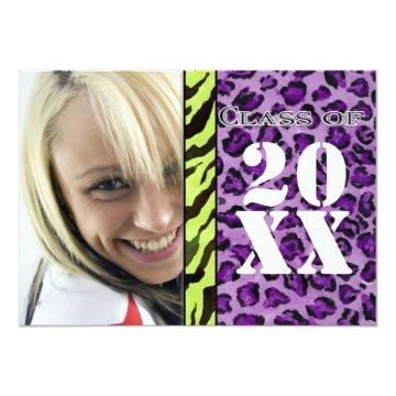 Zebra Leopard Print, Graduation Announcement