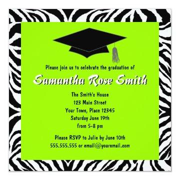 Zebra Print Lime Green Custom Photo Graduation Invitations