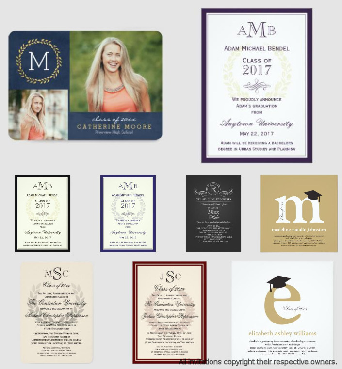 Monogram Graduation Invitations